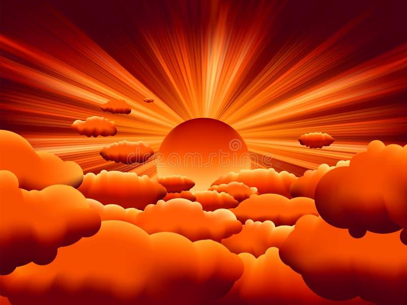 för eps-sunburst för 8 oklarhet vektor för solnedgång stock illustrationer