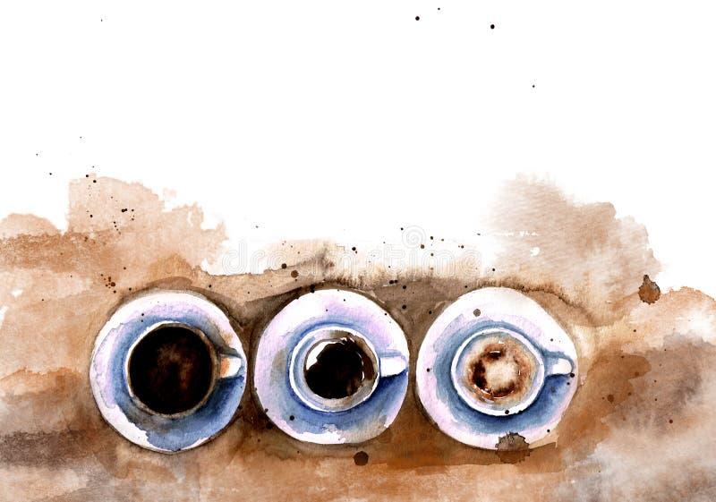 För espressokaffe för vattenfärg tre fulla koppar, halvfullt, tomt stock illustrationer
