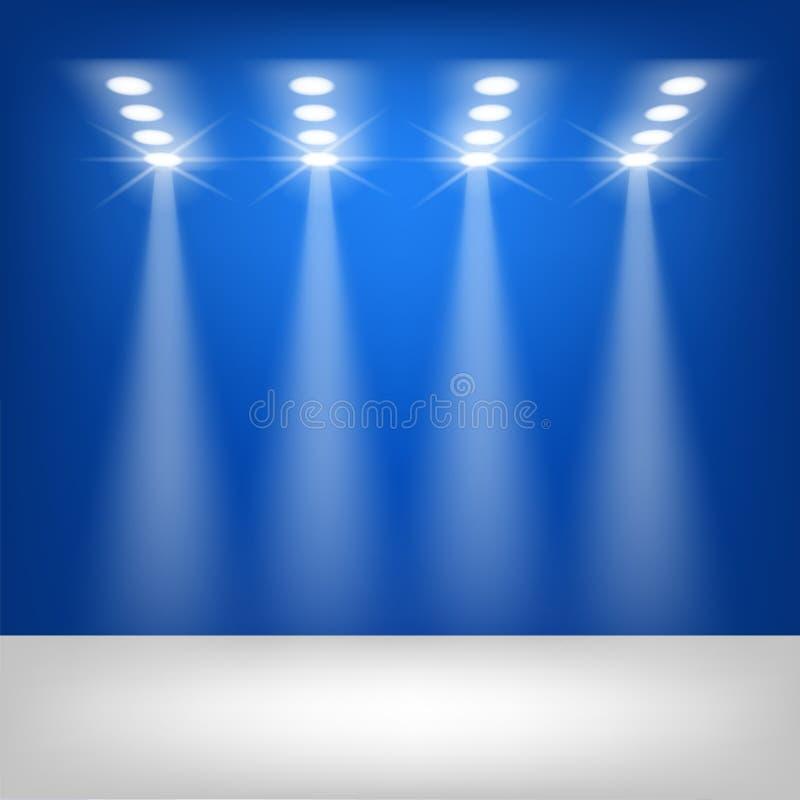 För etappvektor för strålkastare blå bakgrund för rengöringsdukbaner, affischer, kort, tapet, bakgrunder, etiketter, platser, kli royaltyfri illustrationer