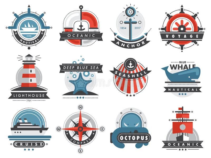 För etiketthavet för nautiska mallar ankrar fastställda marin- emblem illustrationen för vektorn för designemblemdiagram vektor illustrationer
