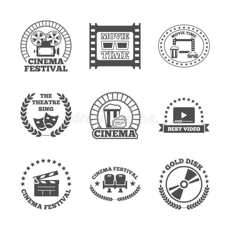 För etikettsymboler för bio svart retro uppsättning stock illustrationer
