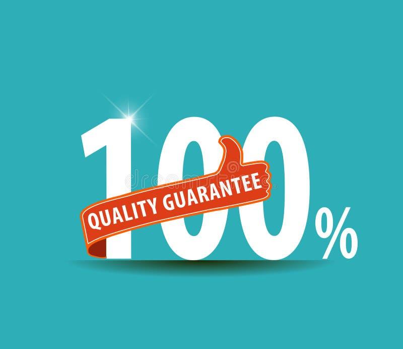 100% för etiketttecken för kvalitets- garanti symbol vektor illustrationer