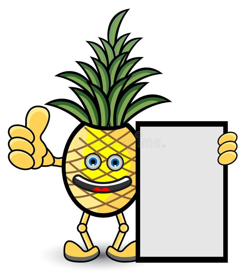 För etiketttecknad film för ananas organisk illustration vektor illustrationer