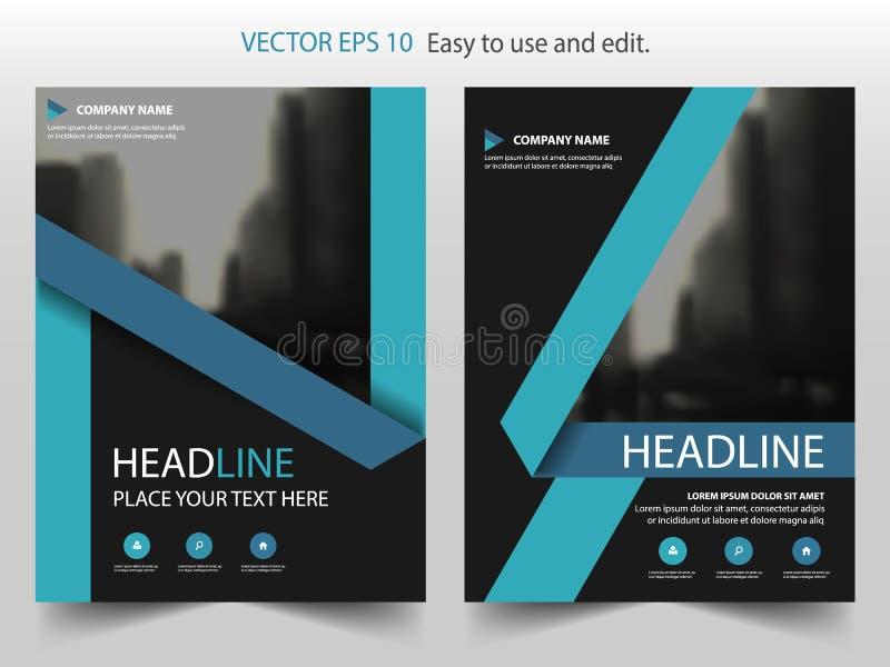 För etikettvektor för blå svart design för mall för reklamblad för broschyr för årsrapport för broschyr, bokomslagorienteringsdes royaltyfri illustrationer