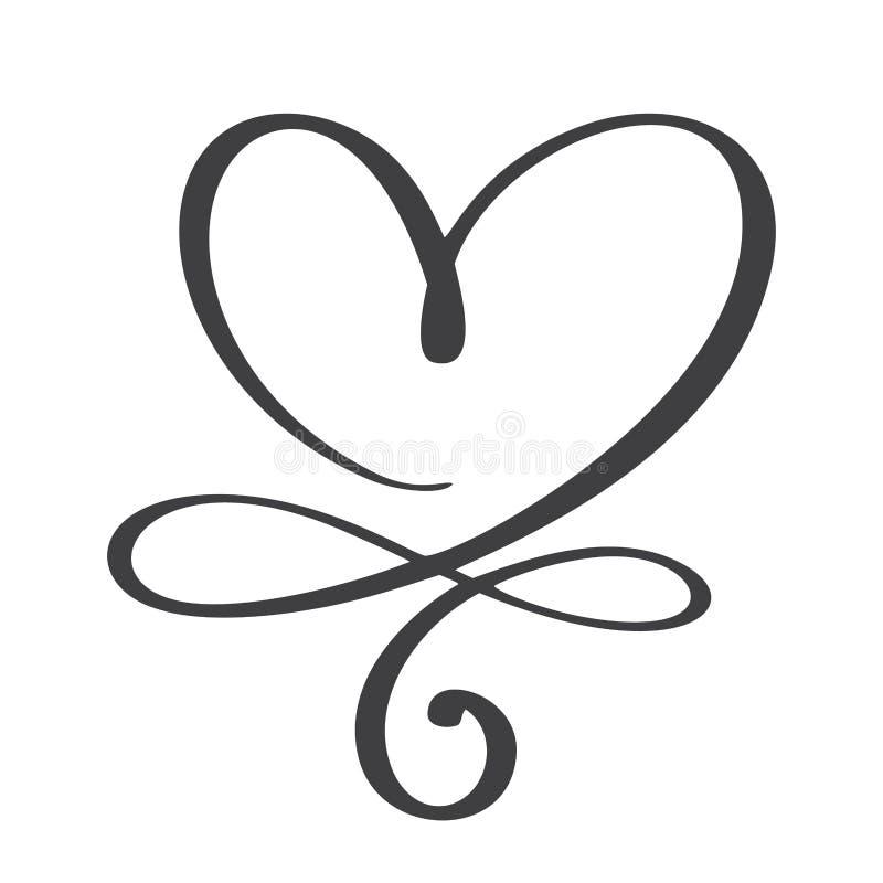 För evigt för hjärtaförälskelsetecken Sammanfogar det anknöt romantiska symbolet för oändligheten, passion och bröllop Mall för t royaltyfri illustrationer