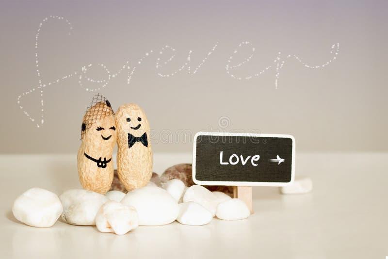 För evigtförälskelseidé Två jordnötter med utdragna framsidor som kramar på rosa vaniljbakgrund arkivfoton