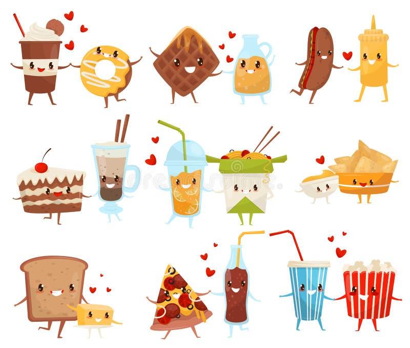 För evigtvänuppsättning, gullig rolig mat och drinktecknad filmtecken, illustration för snabbmatmenyvektor på en vit stock illustrationer