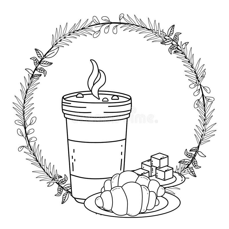 För exponeringsglas- och brödvektor för med is kaffe design vektor illustrationer