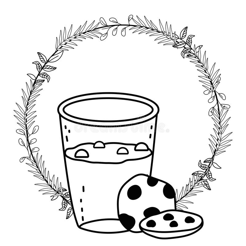 För exponeringsglas- och kakavektor för med is kaffe design stock illustrationer