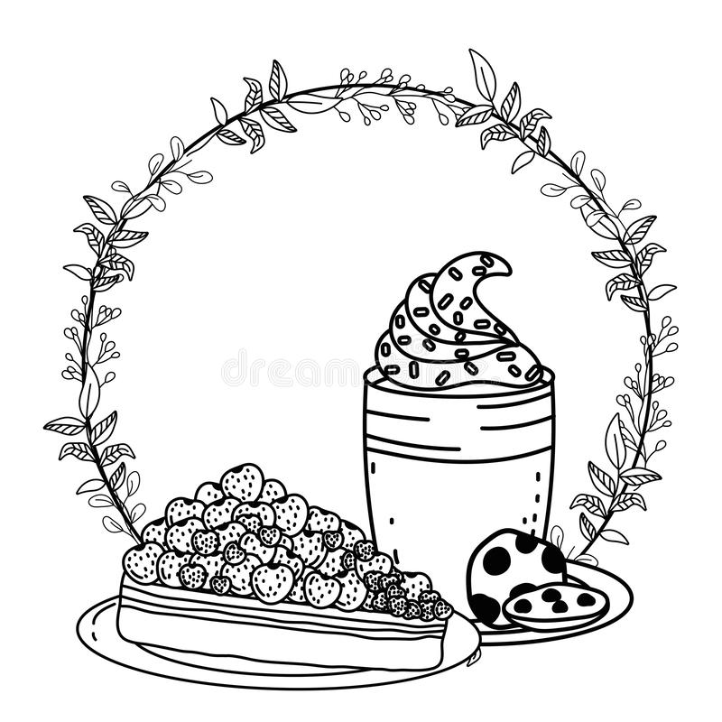 För exponeringsglas- och kakavektor för med is kaffe design vektor illustrationer