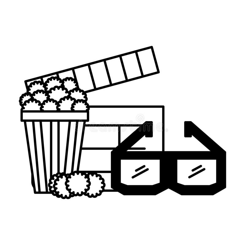 F?r exponeringsglaspanelbr?da f?r popcorn 3d film f?r bio stock illustrationer