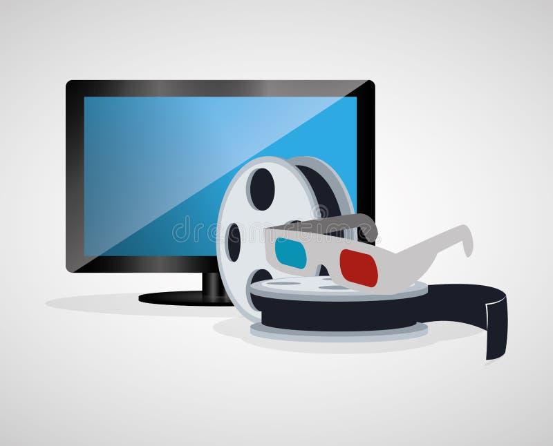 för exponeringsglasrulle för bio 3d plasma för tv för film vektor illustrationer