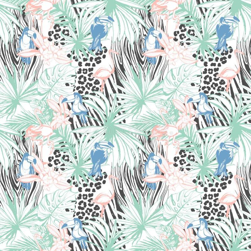 För färgbakgrund för tropisk blom- sommar sömlös modell med PA royaltyfri illustrationer