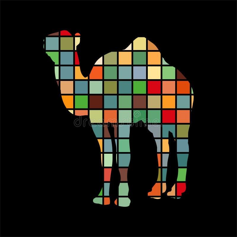 För färgkontur för kamel däggdjurs- djur royaltyfri illustrationer