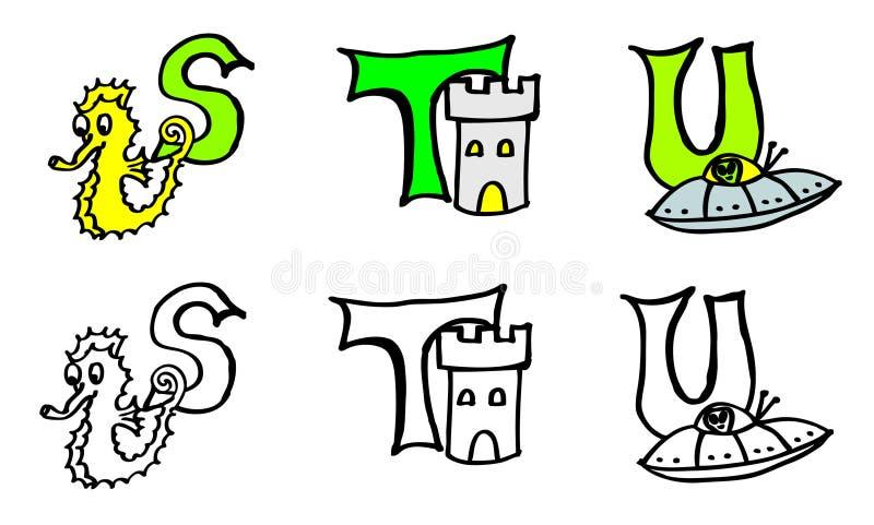 För färgläggningbok för del 7 s t u bokstäver med bilder i tyskt och engelskt vektor illustrationer