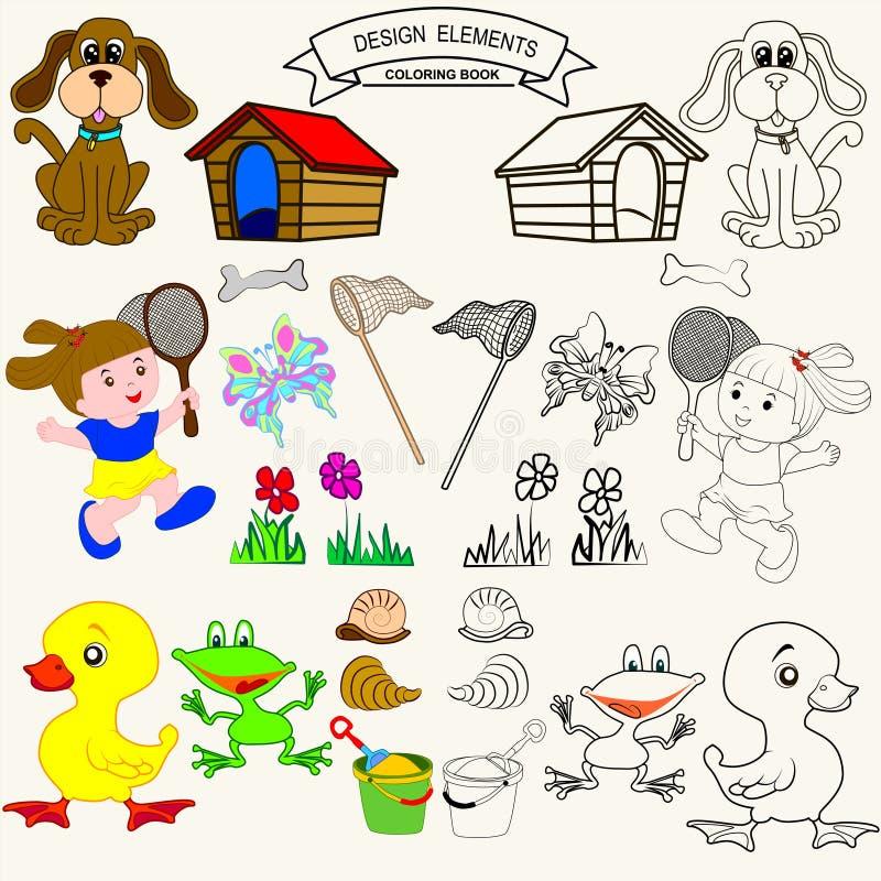 för färgläggningdiagram för bok färgrik illustration vektor illustrationer