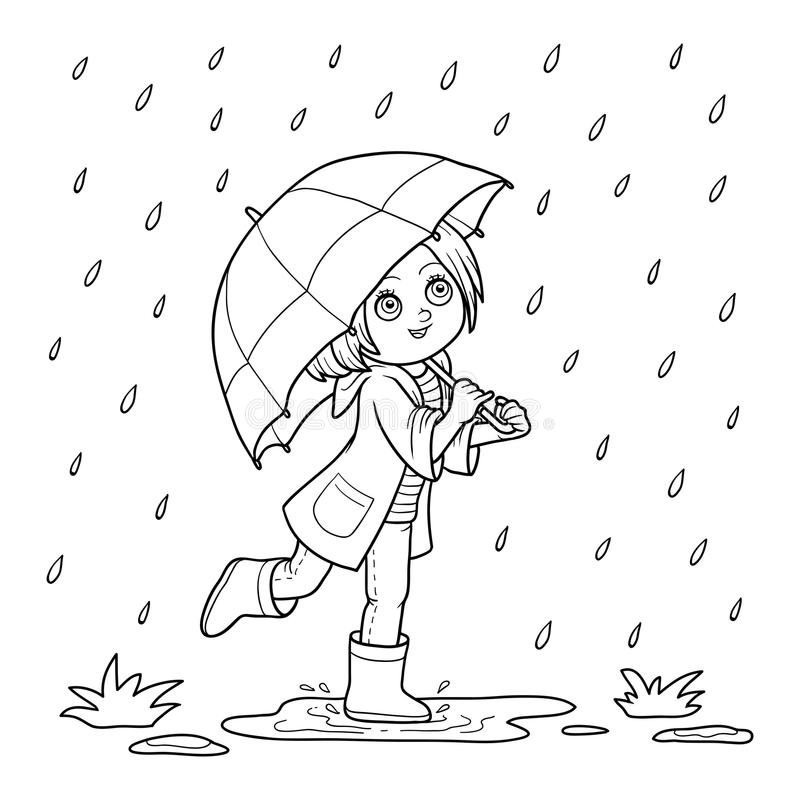 för färgläggningdiagram för bok färgrik illustration Flickaspring med ett paraply i regnet vektor illustrationer