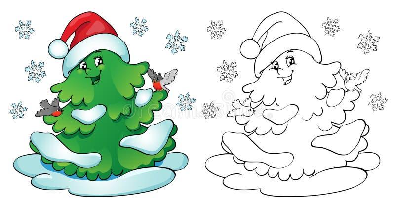 för färgläggningdiagram för bok färgrik illustration Julgran med domherreer och snöflingor vektor illustrationer