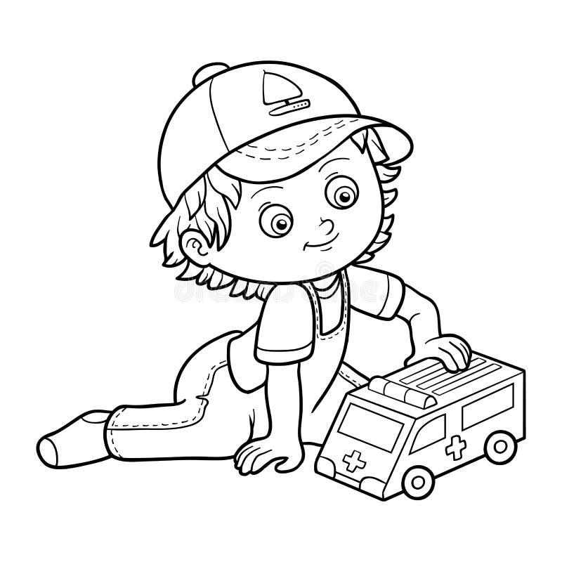 för färgläggningdiagram för bok färgrik illustration Pyslekar med ambulansbilen stock illustrationer