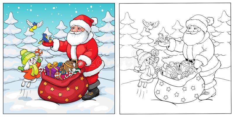 för färgläggningdiagram för bok färgrik illustration Santa Claus, kanin och fåglar med gåvor stock illustrationer