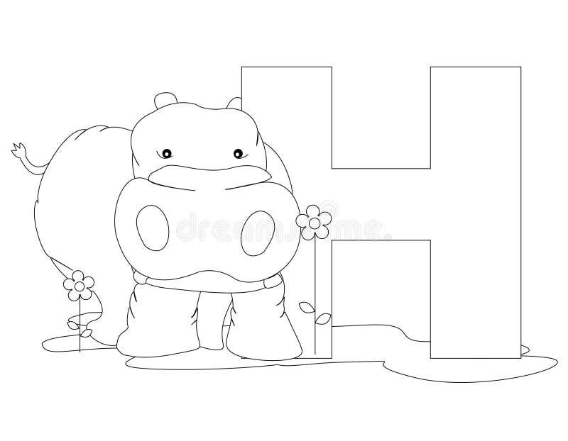 för färgläggningH för alfabet djur sida stock illustrationer