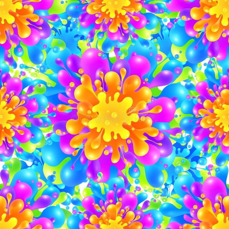 För färgmålarfärg för regnbåge sömlös livlig vektor för färgstänk royaltyfri illustrationer