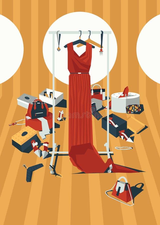 För färgmode för vektorn hänger löst den vertikala illustrationen med den långa röda klänningen på hängare som dras i röra av til vektor illustrationer