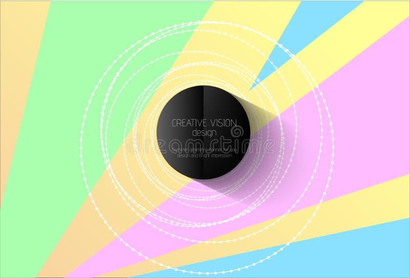 För färgmodell för abstrakt vektor geometrisk bakgrund Vita pärlor eller tråddesignbeståndsdel och central rubrikcirkel för svart royaltyfri illustrationer