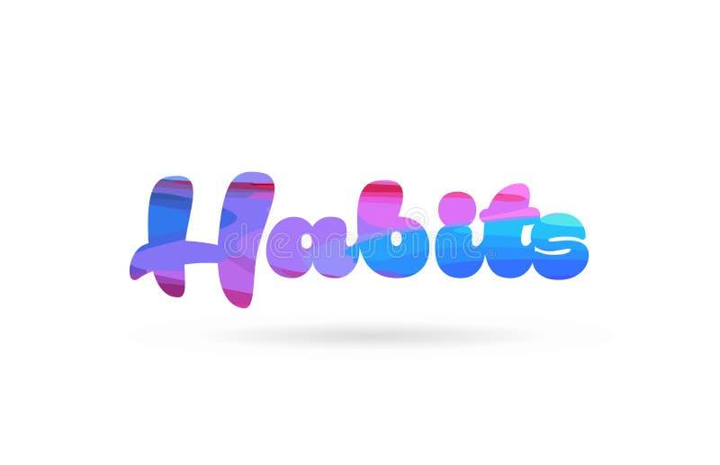 för färgord för vanor rosa blå symbol för logo för text vektor illustrationer
