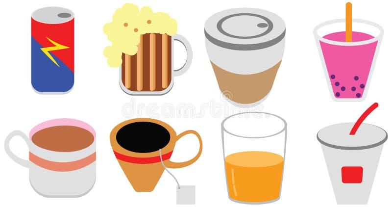 För färgpacke för tecknad film plan symbol för drink för energi för te för kafé för fruktsaft för kopp stock illustrationer