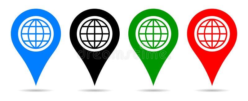 För färgpekare för vektor fyra navigering för stift för översikt med jordklotet stock illustrationer