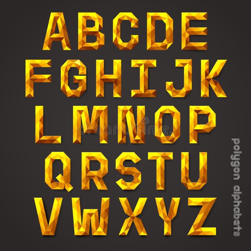 För färgpolygon för alfabet guld- stil royaltyfri illustrationer