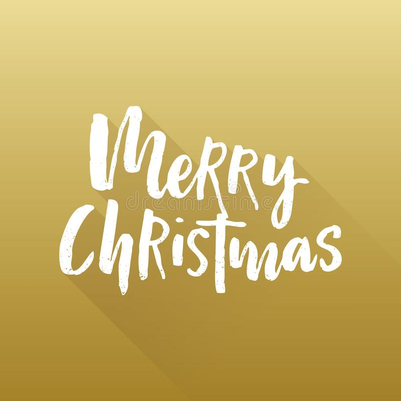 För färgpulverborste för glad jul bokstäver för hand med lång lutningskugga på röd bakgrund också vektor för coreldrawillustratio royaltyfri illustrationer