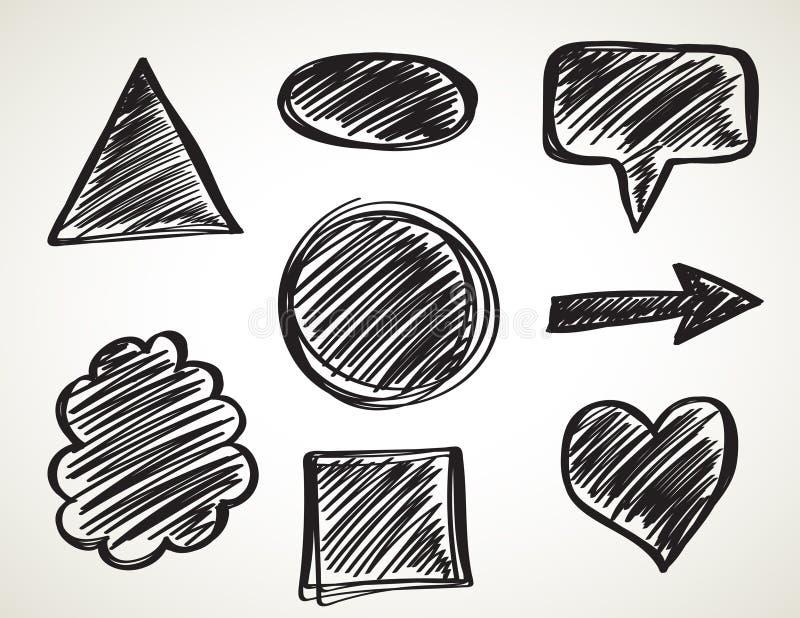 För färgpulverkonst för vektor svart uppsättning för borstar Grungemålarfärgslaglängder royaltyfri illustrationer