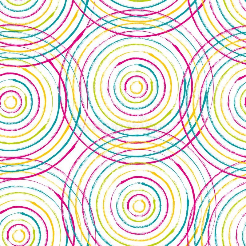 För färgrikt sömlös modell cirkelabstrakt begrepp för klotter vektor illustrationer