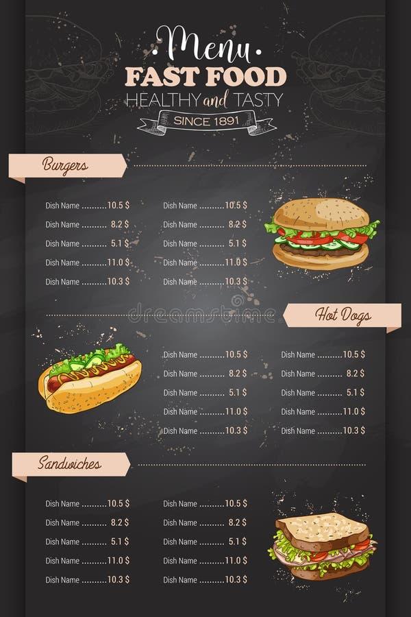 För färgsnabbmat för teckning vertikal design för meny stock illustrationer