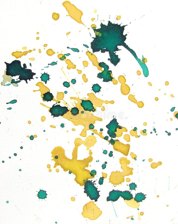 för färgstänkvattenfärg för bakgrund grön yellow vektor illustrationer