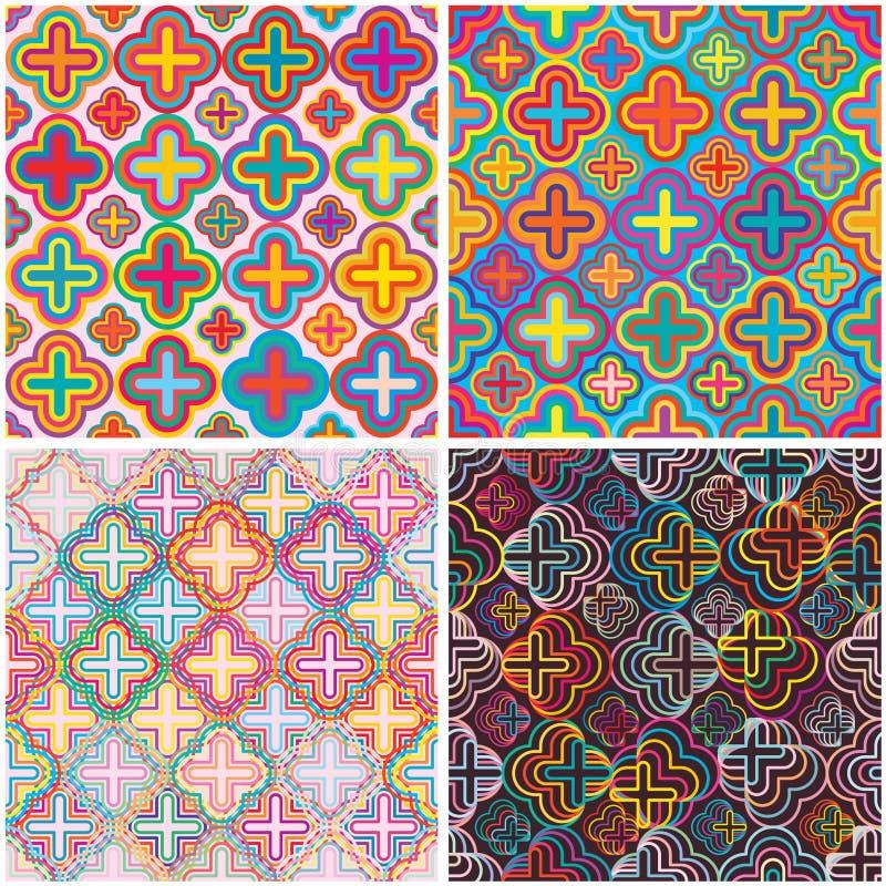 För färguppsättning för fyra blomma sömlös modell stock illustrationer