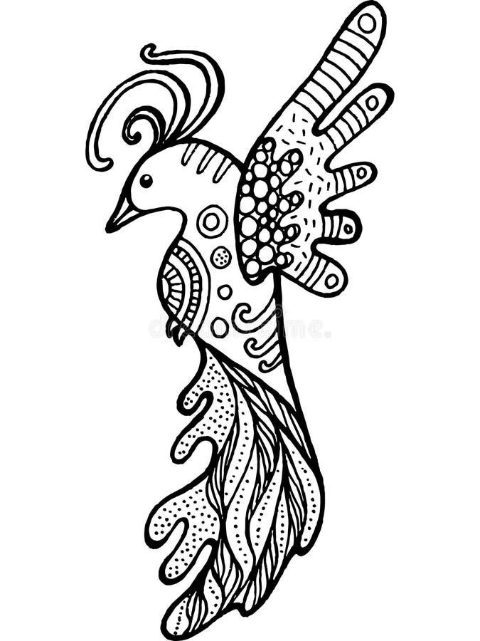 För fågelfärgläggning för tecknad film rolig sida Hand dragen klotterzentangle ve vektor illustrationer