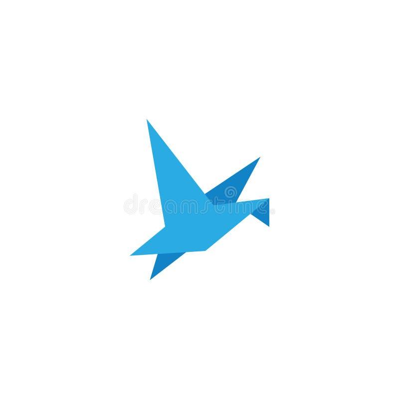 För fågelflyg för abstrakt origami blå design för mall vektor illustrationer