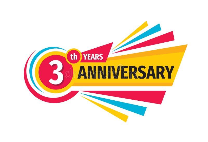 för födelsedagbaner för th 3 design för logo Tre år årsdagemblememblem Abstrakt geometrisk affisch stock illustrationer