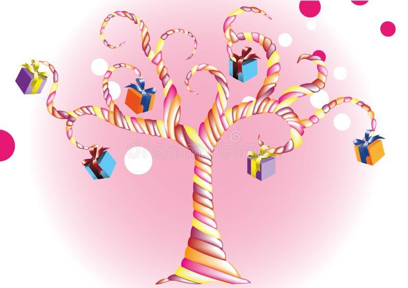 För födelsedaggodis för vektor lycklig tree med en färgrik gåva stock illustrationer