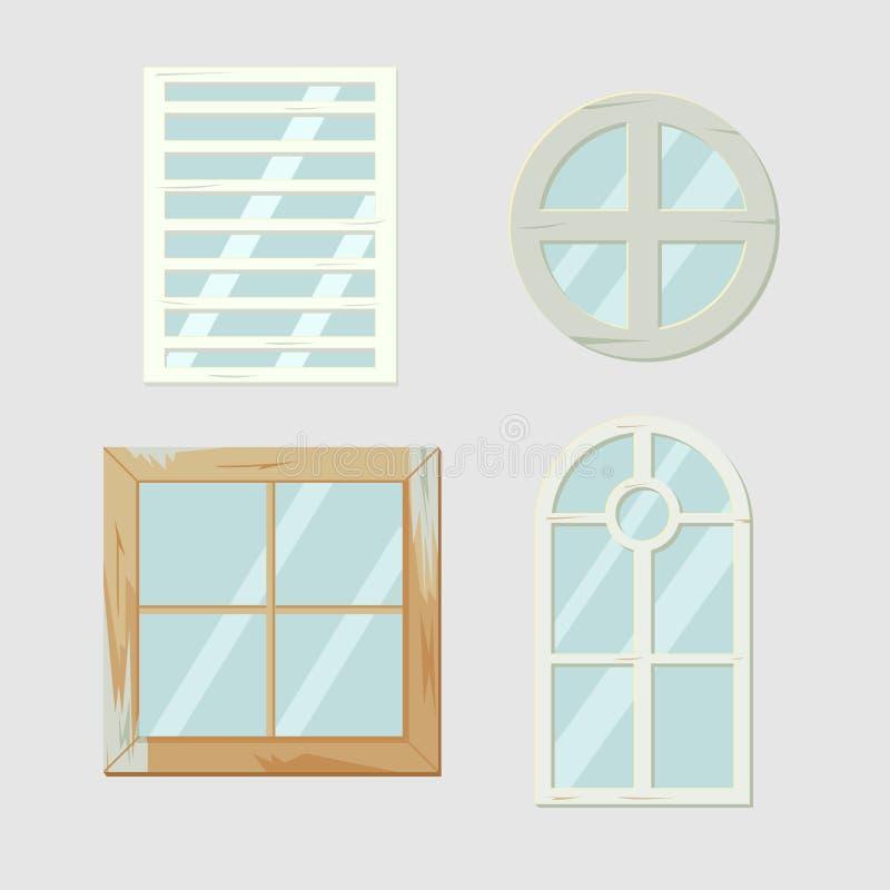 För fönsterram för tappning gammal vektor för antikviteter vektor illustrationer