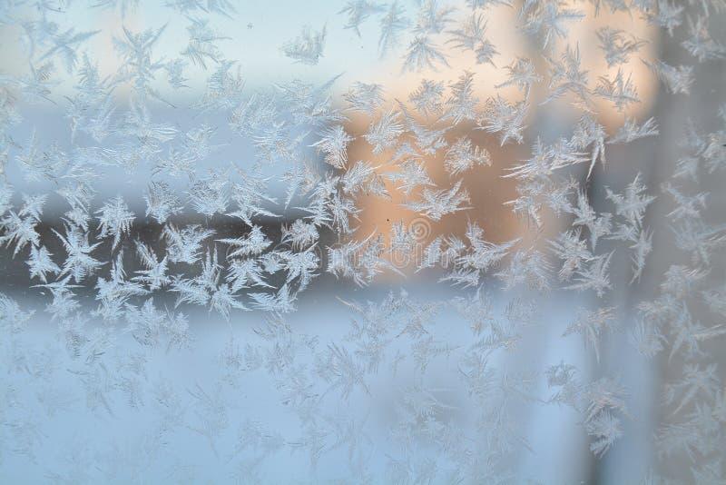 För fönstersnö för vinter djupfryst modell för exponeringsglas för snöflingor för frost för hoar arkivbilder