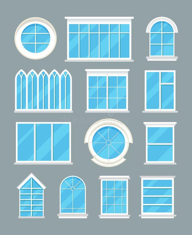 För fönstertyper för exponeringsglas hem- symboler för lägenhet för vektor vektor illustrationer