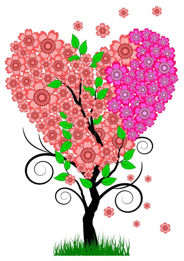 för förälskelsetree för begrepp hjärta isolerad white stock illustrationer