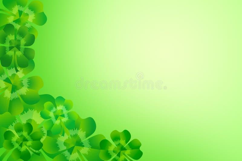 För för bladväxt av släktet Trifolium/treklöver för gräsplan fyra bakgrund för ram för gräns för hörn vektor illustrationer