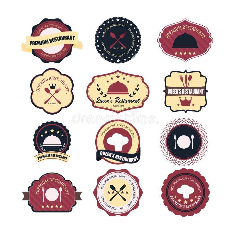 För för grungekaffe och restaurang för tappning retro etiketter, emblem och ic stock illustrationer