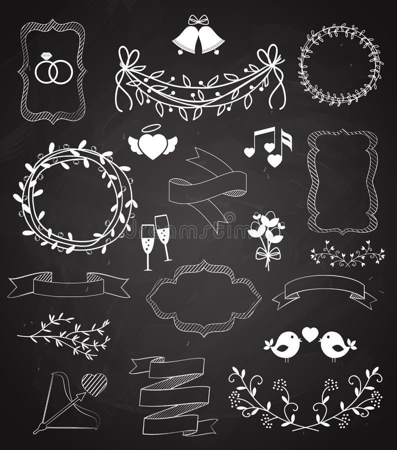 För för svart tavlabaner och band för bröllop uppsättning stock illustrationer