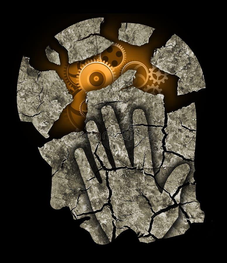 För fördjupningshuvudvärk för man head spänning royaltyfri illustrationer
